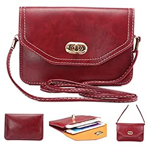 Universal Cell Phone Cross-body Purse,Horizental Mini Shoulder Bag Soft PU Leather Carrying Cases for Apple iPhone 6s/6 Plus iPhone 6/6s,Samsung Galaxy S6 and Note Series,Phones Under 6.1 inch-Red