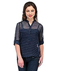 Colornext Georgette Blue Top for Women (Size: Medium)