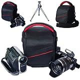 First2savvv black professional heavy duty digital camera carrying case bag for FUJIFILM X20 with mini tripod