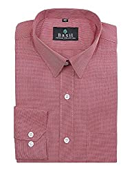 Basil Men's Poly Cotton Formal Shirt (BA380PLC47FSF-42, Brick Red, 42)