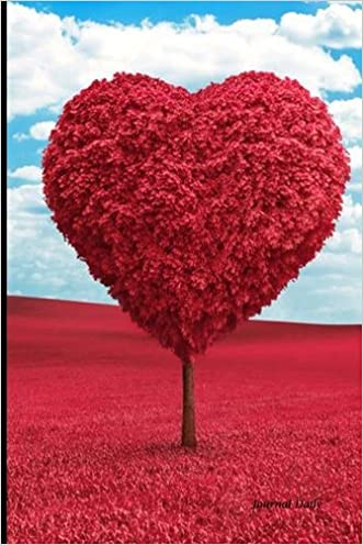 Journal Daily: Red Heart Tree and Blue Sky, Lined Blank Journal Book, 6 x 9, 200 Pages,valentines day gifts for her him