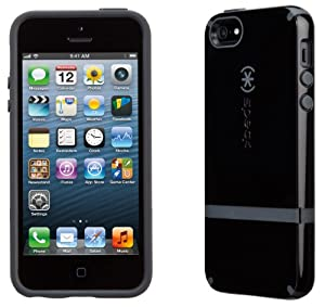 Speck Products CandyShell Flip Dockable Case for iPhone 5 & 5S - Retail Packaging - Black/Black/Slate Grey