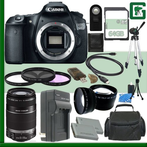 Canon Eos 60D Digital Slr Camera And Canon 55-250Mm Lens + 64Gb Green'S Camera Package 1