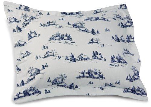 Pinzon 160-Gram Printed Cotton Flannel Standard Sham, Winter Village Cadet Blue front-937626