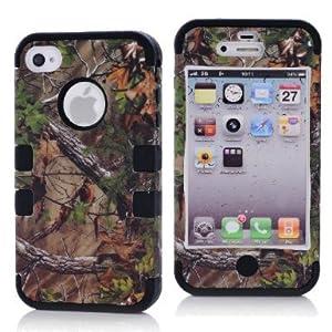 SHHR-HX4G40N Tree Camo Design Hybrid Cover Case for Apple iPhone4 4s 4G -Black Color