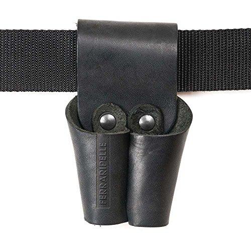 Porta Tenaglia Colore Nero - in Vero Cuoio, Rivetti Bruniti, Fatto a mano in Italia, Cintura non Inclusa