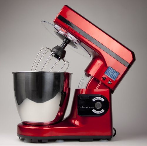 Andrew James Large 7 Litre Automatic Red Food Stand Mixer