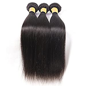 Oriental Show 8~30 inches 6A Brazilian Silky Straight, Pack of 3(Mixed Length), 100% Unprocessed Virgin Human Hair, 300g Total(100g Each), Natural Color (30 30 30)