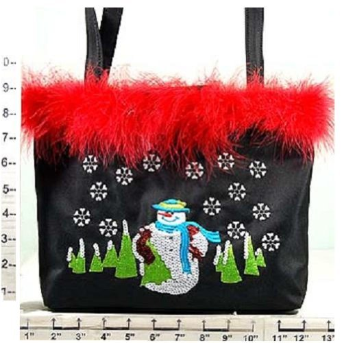 Christmas Purse ~ Embroidered Snowman ~ Black w/Red Feathers