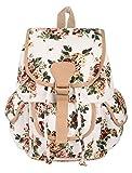 #3: Crafts My Dream Women's Backpack Handbags Beige Rose Print Cmd176