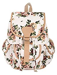 Crafts My Dream Women's Backpack Handbags Beige Rose Print Cmd176