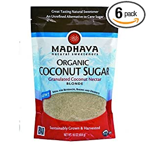 Madhava Organic Blonde Coconut Sugar, 16-Ounce (Pack of 6) $17.65