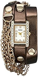XOXO Women's XO5630 Gold-Tone Watch with Wraparound Brown Metallic Band