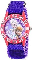 Disney Kids' Frozen Elsa and Anna Watch, W001789, Purple Nylon Band by Disney