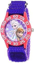 Disney Kids W001789 Frozen Elsa and Anna Watch, Purple Nylon Band