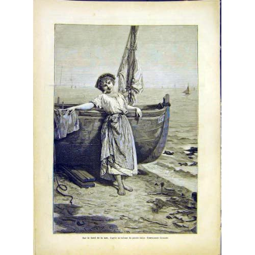 Boat Sea Girl Giuliano Italian Fine Art Print 1882 Home & Kitchen