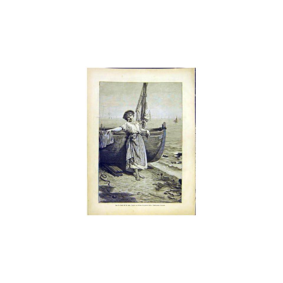 Boat Sea Girl Giuliano Italian Fine Art Print 1882 Home & Kitchen