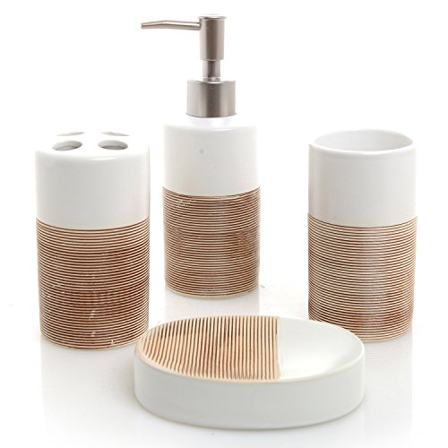 Bathroom accessory sets deluxe 4 piece white beige ceramic for Beige bathroom set