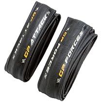 Continental Grand Prix Attack/Force Combo Road Bike Clincher Tires - Black - Folding - 700 x 22/24 - C1037124