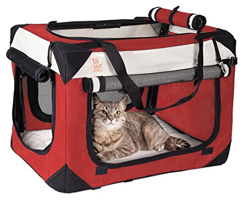 "Soothing ""Happy Cat"" Soft Sided Cat Carrier w/ Comfy Plush Sleep Pillow 4X Interior Space Breezy Windows, Sunroof – Collapses, Folds, Locking Zippers Lightweight Stylish, Washable, Reduces Anxiety"