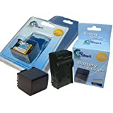 UpStart Battery New - Fully Decoded BP-809 Replacement 2 Batteries+Charger Kit for Canon Camcorders