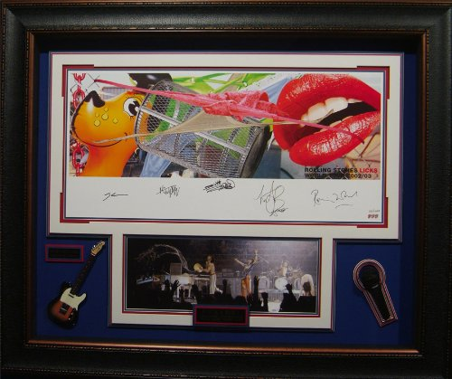 "The Rolling Stones Signed ""Licks Tour"" Framed Lith - Signed And Framed Photos"