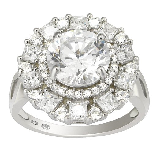 Sterling Silver Clear Cubic Zirconia Ring, (7.15 cttw), Size 6