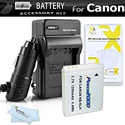 Battery And Charger Kit For Canon PowerShot SX280 HS SX280HS ELPH 500 HS SX260 HS Canon SX500 IS SX500IS SX510 HS SX170 IS S120 SX600 HS SX700 HS D30 Digital Camera Includes Replacement NB-6L (1200mAH) Extended Battery + Ac/Dc Travel Charger +