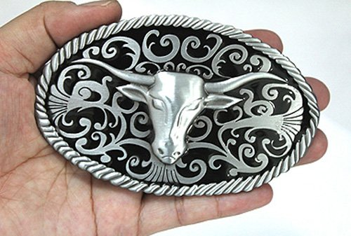 new western cattle skull bull horns oval belt buckle WT015BK