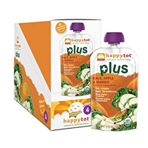 Happy Tot Plus Organic Baby Food, Kale, Apple and Mango, 4.22 Ounce Pouches (Pack of 16).