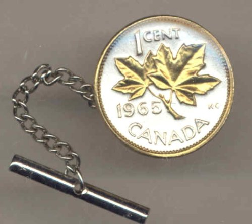 Gorgeous 2-Toned Gold on Silver World Coin Tie-Tack-156TT