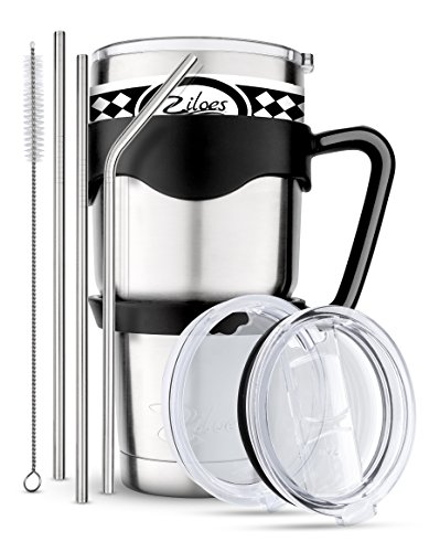 Tumbler 30 Oz.- Stainless Steel- 8 Piece set- Removable Handle, 2 Lids sliding and regular, 3 Straws + cleaning brush, Travel Coffee Mug, Double Wall Vacuum Insulated Rambler, by ziloes