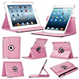 Stuff4 Leather Smart Case with 360 Degree Rotating Swivel Action and Free Screen Protector/Stylus Touch Pen for Apple iPad Mini/Mini Retina - Light Pink