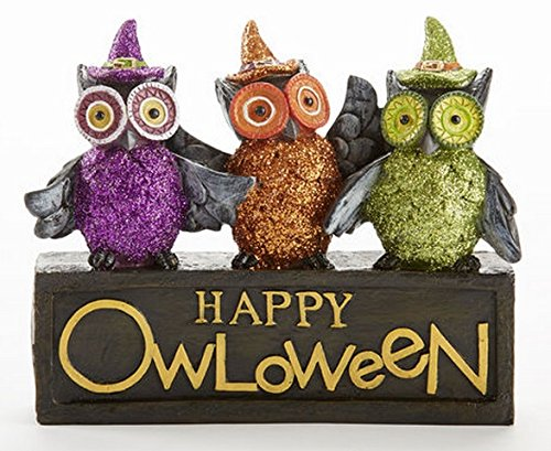 Happy Owloween Tabletop Sign 6 Inch Resin Halloween Owls with Glitter - 1