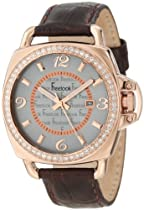 Freelook Unisex HA1093RG-2 Brown Croco Leather Band with Rose Gold Case Watch