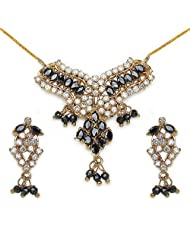 14.40 Grams Black Cubic Zirconia & White Cubic Zirconia Gold Plated Brass Pendant Set