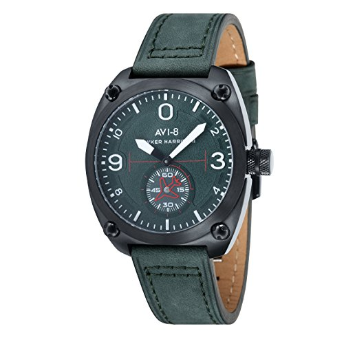 AVI-8 Hawker Harrier II Men's Quartz Watch with Green Dial Analogue Display and Green Leather Strap AV-4026-04