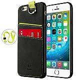 Baseus iPhone6s Plus ケース カード収納 おしゃれ iPhone6 Plusレザーカバー ストラップ付き 革製 手触り良い 高級PU素材 保護キャップ付き iPhone 保護カバー 黒