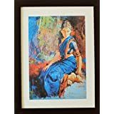A Women In Saree Beautiful Hand Drawn Oil Painting Digitally Converted In A Fiber Wood Frame. Looks Very Attractive...