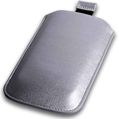 Silver Leather Pouch Case Xylo-Cover  Pull Up