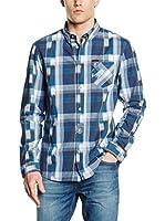Guess Camisa Hombre Ikat (Azul / Blanco)