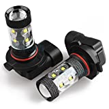 Yorkim Extremely Bright Max 50W High Power H10 9145 LED Bulbs for DRL or Fog Lights, Xenon White (Pack of 2)
