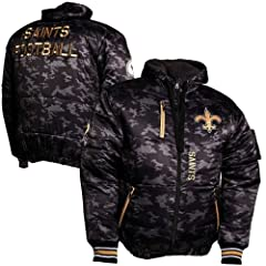 New Orleans Saints Black Ops Puffer Jacket by Legend Sport Direct