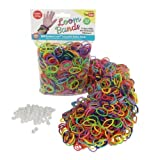 Loom Rubber Bands - 1000 Rubber Band Refill Variety Value Pack with Clips (Rainbow Colors) -  100% Compatible with all Looms