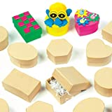 Mini Plain Craft Boxes made with Strong Board. 6 Assorted Shapes Sizes 5-6cm for Children to Decorate (Pack of 12)