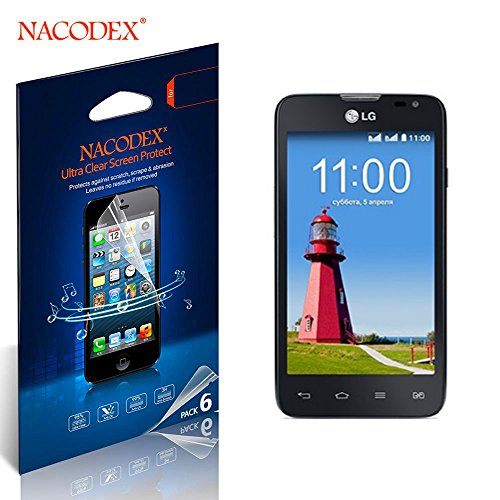 Nacodex® 6X Hd Clear Screen Protector Cover Film For Lg Optimus L80 Lcd Cover Guard Shield [ 100% High Quality In New Box ] [ 6Pcs Screen Protectors + 2X Cleaning Cloth + 1X Smoothing Card] [ W/Tracking No.]