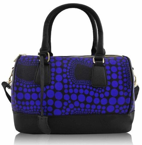 KCMODE Ladies Designer Blue Black Spotty Dots Weekend Bowling Bag Holdall Handbag