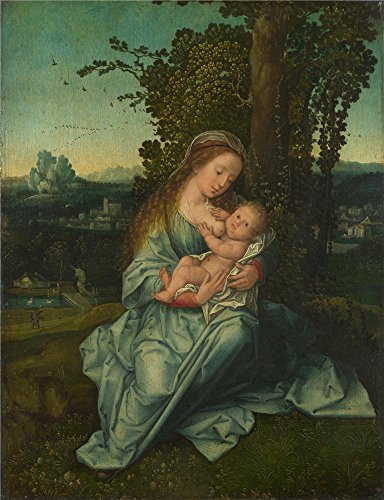 Polyster Canvas ,the High Resolution Art Decorative Canvas Prints Of Oil Painting 'Style Of Bernaert Van Orley The Virgin And Child In A Landscape ', 16 X 21 Inch / 41 X 53 Cm Is Best For Kitchen Decor And Home Decoration And Gifts