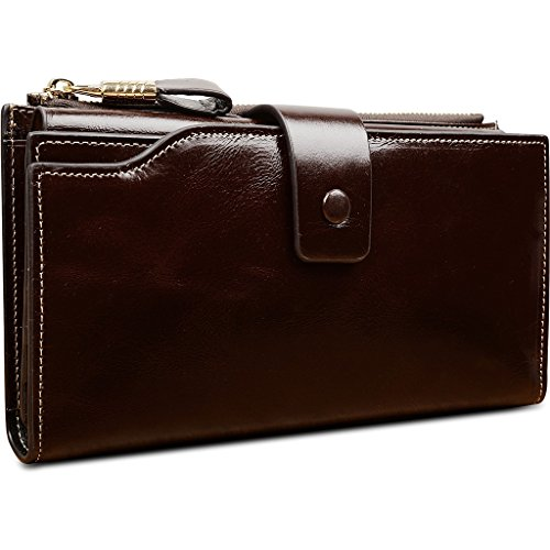 Yaluxe Women's Large Capacity Luxury Wax Genuine Leather Wallet With Zipper Pocket (Gift Box) Coffee