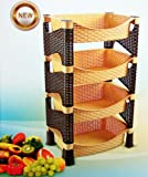 Galaxy HQ Light Brown & Dark Chocolate 4 Tier Plastic Fruit Vegetable Kitchen Storage Rack Trolley